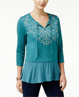 Style&Co. Style & Co Flounce-Hem Peasant Top, Only at Macy's