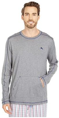 Tommy Bahama Long Sleeve T-Shirt with Pocket (Heather Grey) Men's Clothing
