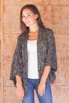 Black and Ecru Rayon Batik Women's Open Front Jacket, 'Bedeg'