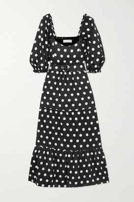 Faithfull The Brand + Net Sustain Rumi Belted Tiered Polka-dot Linen Midi Dress - Black