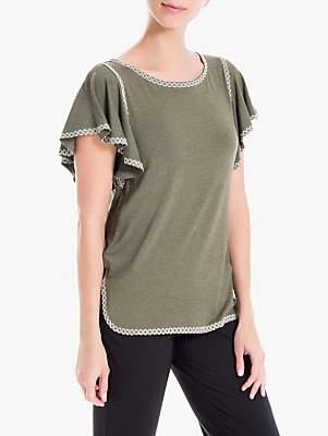 Max Studio Short Sleeve Embroidered Jersey Top, Khaki/Ecru