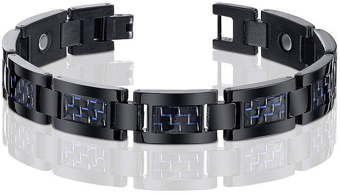 JCPenney FINE JEWELRY Mens Black Titanium with Blue Carbon Fiber Inlay Bracelet