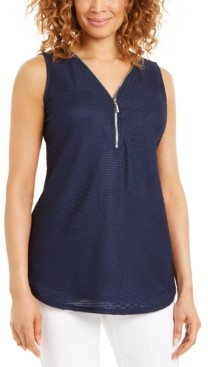 JM Collection Petite Zip V-Neck Textured Top, Created for Macy's