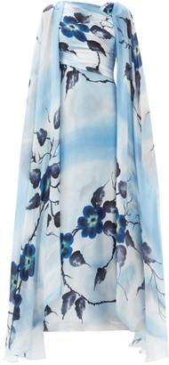 Rodarte Hand-painted Floral Silk Gown - Blue Print