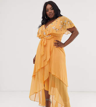 Asos DESIGN Curve maxi dress with cape back and dipped hem in embellishment-Orange