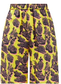 Stella McCartney Timothy Psychedelic-print Silk Shorts - Yellow Multi