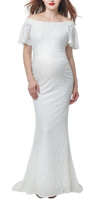Kimi and Kai Eloise Convertible Off the Shoulder Maternity Wedding Dress