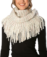 Pure Style Girlfriends Ivory Knit Fringe Snood