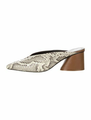 Mercedes Castillo Leather Animal Print Mules Brown