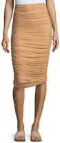 Norma Kamali Shirred Knee-Length Swim Skirt, Camel