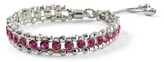 White House Black Market Silvertone/Berry Friendship Stretch Bracelet