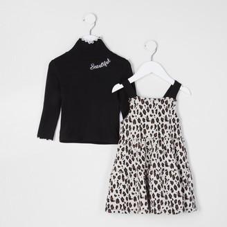 River Island Mini girls Beige leopard pinny dress outfit