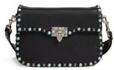 Valentino Garavani Rolling Rockstud Guitar Strap Leather Shoulder Bag - Black