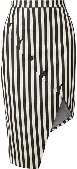 Altuzarra Paul Bert Button-embellished Striped Stretch Cotton-twill Skirt - Black
