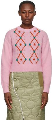Sjyp Pink Wool Argyle Sweater
