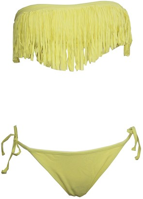 Raivar Yellow Fringe Tassel Bandeau Swimwear Beach Bikinis Set for Women UK Size (10)