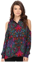 Nicole Miller Leigh Cold Shoulder Deco Wallpaper Blouse