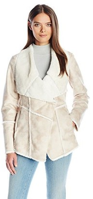 Laundry by Shelli Segal Women's Faux Fur-Faux Shearling Drape Front