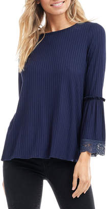 Fever Ribbed Top with Crochet Detail