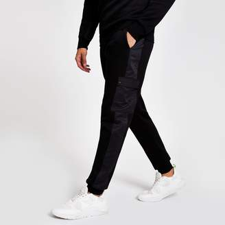 Mens Black slim fit utility joggers