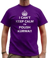 Nutees Mens I Can't Keep Calm I'm Polish Kurwa, Poland Funny T Shirt