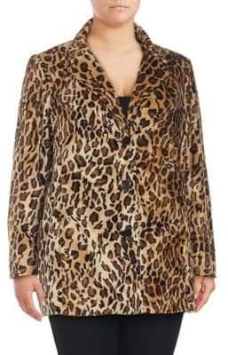 Plus Faux Fur Leopard Printed Jacket