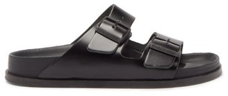 Birkenstock 1774 Arizona Two-strap Leather Slides - Black