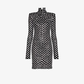 Richard Quinn Twisted Polka Dot Sequin Dress