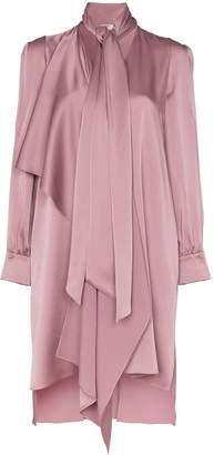 Fendi tie-neck asymmetric satin dress