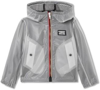 BURBERRY KIDS Logo Print Hooded Jacket