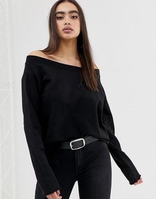 Asos DESIGN off shoulder sweatshirt with raw edges in black