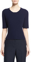 The Row Nias Short-Sleeve Cashmere-Blend Sweater, Deep Navy