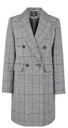 Dorothy Perkins Womens Grey Check Double Breasted Wool Look Coat, Grey
