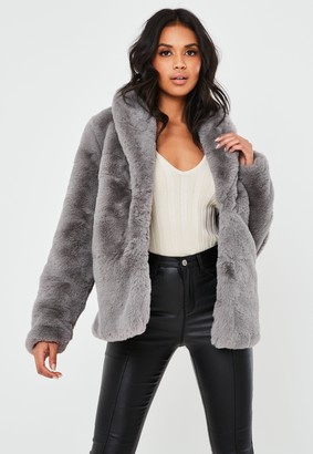 Missguided Grey Shawl Collar Faux Fur Coat