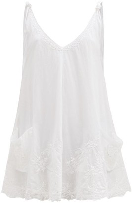 Juliet Dunn V-neck Hand-embroidered Cotton-voile Mini Dress - White