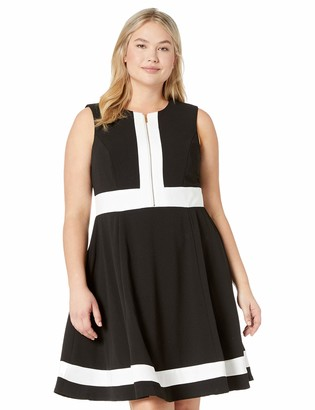 Calvin Klein Women's Size Color Block Fit and Flare with Front Zip Dress