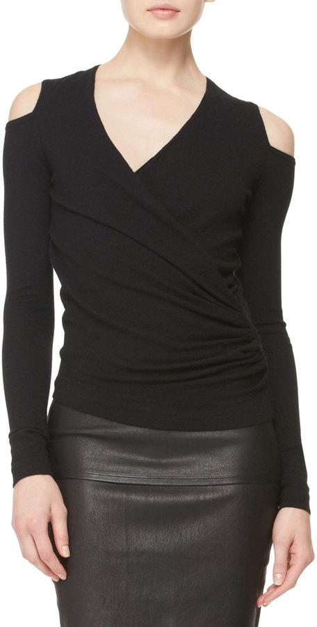 Donna Karan Asymmetric Cold-Shoulder Top