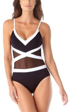 Anne Cole Colorblocked Mesh V-Neck One-Piece Swimsuit Women's Swimsuit