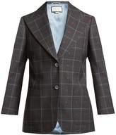 Gucci Heart-jacquard peak-lapel wool-blend blazer