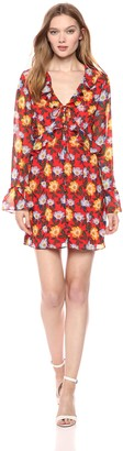The Fifth Label Women's Long Sleeve Floral Ruffle Detail Short Mini Dress