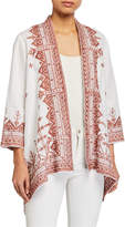 Johnny Was Plus Size Eyal Embroidered Linen Draped Cardigan