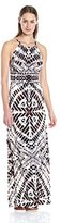 London Times Women's Wood Stamp Batik Halter-Neck Maxi