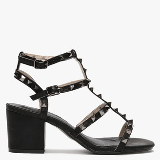 Moda In Pelle Mima Black Studded Block Heel Sandals
