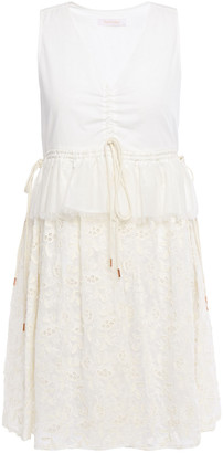 See by Chloe Gathered Broderie Anglaise Cotton-blend Mini Dress