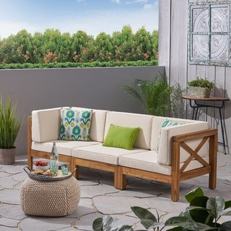 Highland Dunes Patio Sofa with Cushions Frame Color / Cushion Color: Teak Frame / Beige Cushion