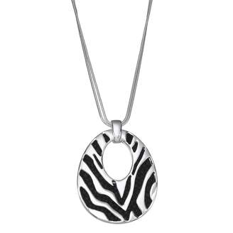 Dana Buchman Zebra Stripe Inset Faux Leather Pendant Necklace