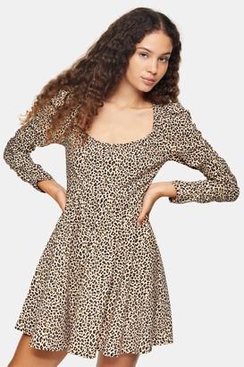 Topshop Brown Stretch Animal Print Mini Dress
