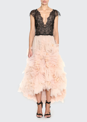 Marchesa Plunging Tulle High-Low Dress