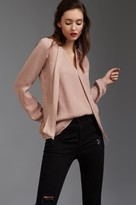 Dynamite Satin Tie Front Blouse