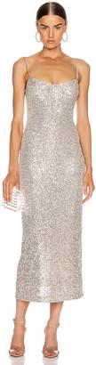 Galvan Glitter Bustier Dress in Platinum | FWRD